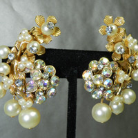50s DeMario? Haskell? Climber Spray Drippy Cluster Clip On Earrings Aurora Borealis Faux Pearl Wedding Jewelry Vintage Jewellery Gift