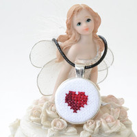 FREE SHIPPING Valentine's day Red heart Cross Stitch Necklace | Love Embroidered Necklace | Silver Jewelry | Pendant Necklace