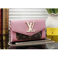 Louis Vuitton Women Fashion Leather Satchel Shoulder Bag Handbag Crossbody Pink