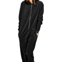 Solid Color Hooded Long Sleeve Jumpsuit