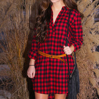 Red Black Checkered Tunic Flannel Dress