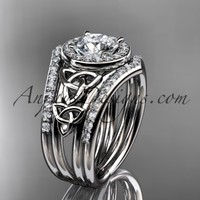 platinum diamond celtic trinity knot wedding ring, engagement ring with a double matching band CT7131S