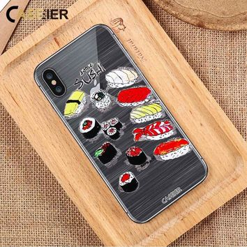 CASEIER Cute Sushi Case For iPhone 7 6 6s Silicone Cover For iPhone X 6 6s 7 8 Plus 5 5S SE Phone Back Cases Shell Coque Capinha