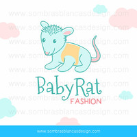 OOAK Premade Logo Design - Baby Rat - Perfect for a newborn fashion shop or a motherhood blog
