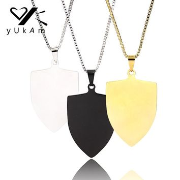 YUKAM Male Accessories Stainless Steel Personalized Name Necklace Photo Engraved Jewelry Custom Dog Tag Pendant Shield Necklaces