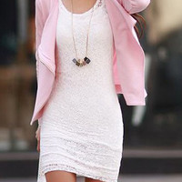 Stylish Scoop Neck Long Sleeve Bodycon Lace Dress