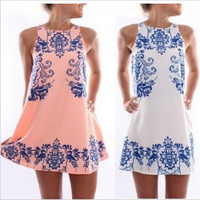 2016 Trending Fashion Retro Vintage Tribal Ethnic Pattern Women Chiffon Floral Printed Floral Printed Round Necked Sleeveless Paisley One Piece Dress Mini Skirt _ 1972