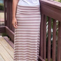 Daydream Believer Mocha And Ivory Striped Maxi Skirt