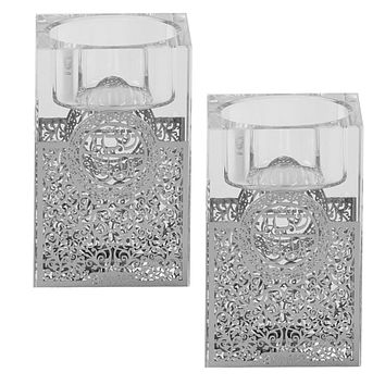 """Crystal And Silver Tealight Candle Holder 3""""H X 2""""W"""
