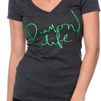 Diamond Supply Handwritten Charcoal V-Neck Tee Shirt at Zumiez : PDP
