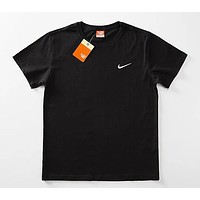 NIKE 2018 classic men and women couple models casual wild round neck short-sleeved T-shirt F0566-1 Black
