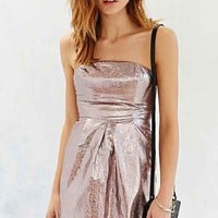 Lucca Couture Foil Strapless Dress- Rose