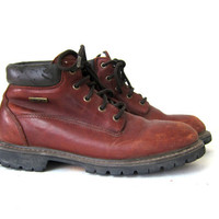 Vintage brown leather work boots. chunky ankle boots. grunge hiking boots. Eddie Bauer women's shoes size 8
