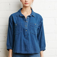 Striped Denim Boxy Shirt