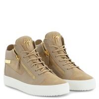 Giuseppe Zanotti Gz Kriss Beige Suede Mid-top Sneaker With Logo - Best Deal Online