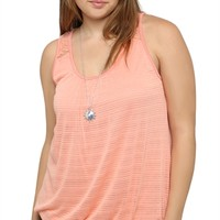 Plus Size Tank with Bubble Hem and Lace Shoulders with Necklace
