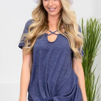 Cassandra Blue Knot Top