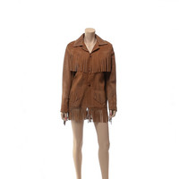 Vintage 60s 70s Distressed Leather Fringe Jacket 1960s 1970s Suede Rocker Hippie Boho Rockabilly Cowhide Biker Jacket Mens Womens Unisex