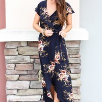 Wrapped Up In Floral Maxi - Navy