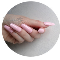 Pink Long Oval Style Nail Art Blanks w/ Nail Art PDF Tutorial DIY Kit almond cute fake nails fingernail tips with glue