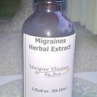 Migraines Herbal Extract, 2 fluid ounce, Good for Migraines, Headaches, Natural Herbs, Unique Visions by Jen