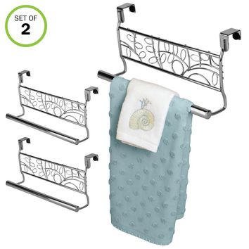 "Evelots Over Cabinet Towel Bar Holders, 9"" Stainless Steel Leaf Design, Set of 2"