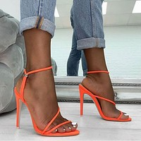Fashion fluorescent open-toed slim high-heeled women's sandals wish cross-border explosive large-size women's shoes trend