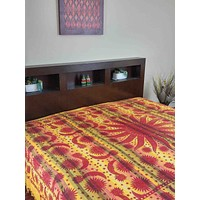 Handloom Cotton Striped Overprint Celestial Tapestry Beadspread Coverlet Beach Sheet Bed Sheet Throw Orange Twin