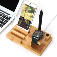 Universal 100% Natural Bamboo Charging Dock Cradle Stand Detachable Multifunction Phone Holder for iPhone Ipad Tablet for iWatch