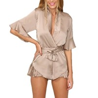 Summer Style Satin Ruffles Elegant Jumpsuit Romper Deep V Neck Sexy Playsuit Women Pink Bow Short Beach Overalls