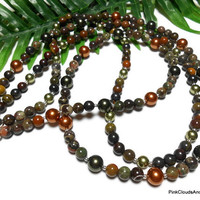 Necklace Jewelry Double Strand Jasper and Swarovski Pearls with Sterling Silver Handmade Beaded One of a Kind Copper Green 25 Inch