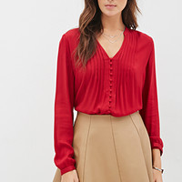 LOVE 21 Pintucked Button-Down Blouse Red