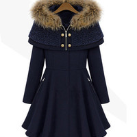 Women's Fashion Slim Hats Long Sleeve Scarf Jacket [9405060484]
