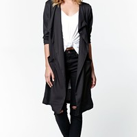 Lira Windswept Duster Coat - Womens Jacket - Black