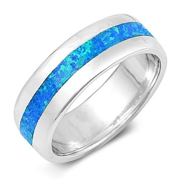 Blue Lab Opal Smooth Inlay in Sterling Silver Wide Engagement Band