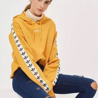 """Adidas"" Women Casual Logo Letter Clover Stripe Webbing Long Sleeve Hooded Sweater Sweatshirt Hoodie Tops"