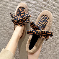 Fendi Butterfly-knotted flat-bottomed women's shoes with velvet