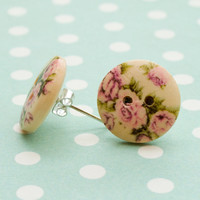 Wooden Floral Button Earrings