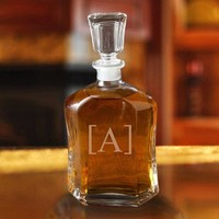 Personalized Whiskey Glass Decanter ~ Single Initial