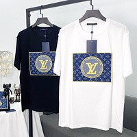 LV Louis Vuitton 2020 new 3D denim embroidery patch short-sleeved T-shirt