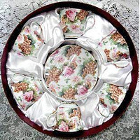12 Piece Pink Rose and Golden Grapes on White Chintz 6 Generous Full Size Porcelain Teacups and Saucers in Round Satin Lined Gift Box