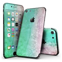 Splattered Mint Absorbed Watercolor Texture - 4-Piece Skin Kit for the iPhone 7 or 7 Plus