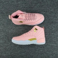DCCKL8A Jacklish Girls Air Jordan 12 Gs Pink Lemonade Pink White Gold For Sale