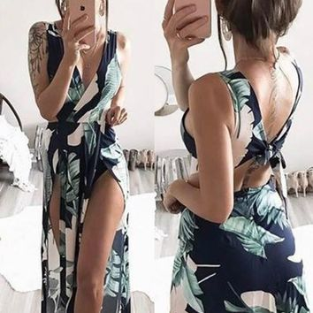 Blue Floral Tie Back Polyester Maxi Dress