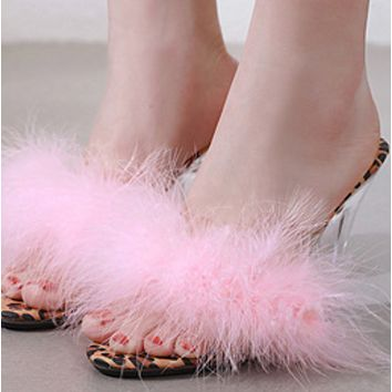 Explosive hot sale fashion transparent cool wool cross dress shoes