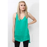 Strappy Satin Side Slit Tanks {Emerald} - Size LARGE