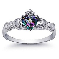 Sterling Silver Rhodium Plated, Rainbow Mystic Color CZ Claddagh Ring 9MM