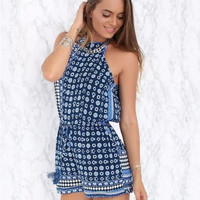 Blue Sleeveless Tribal Printed Romper with Keyhole Back