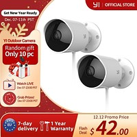 YI Outdoor Camera Wireless surveillance camera IP-65 Water-Resistant Housing Cam Night Vision Human Detection Security Camera