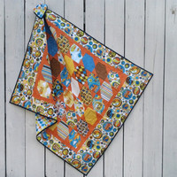 "Baby Boy Blanket Heirloom Quilt Planes, Trains and Automobiles Orange and Blue 36"" X 47"" -Ready to Ship"
